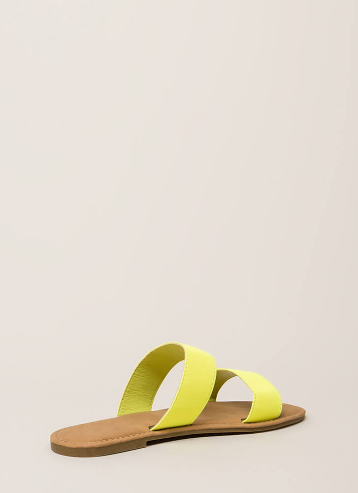 Making The Bands Strappy Slide Sandals NEONYELLOW