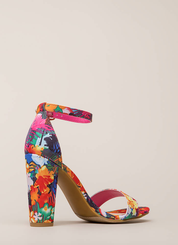 Find My Prints Chunky Ankle Strap Heels FUCHSIA