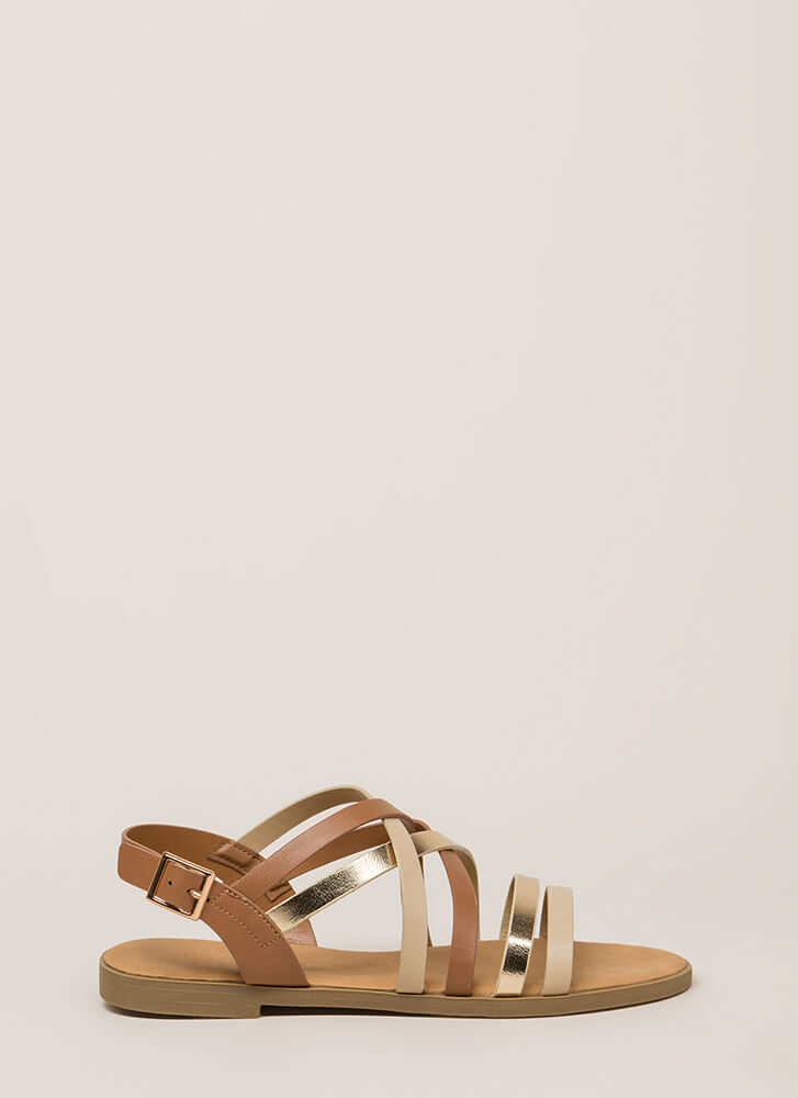 Your Feet Will Shine Strappy Sandals TAN