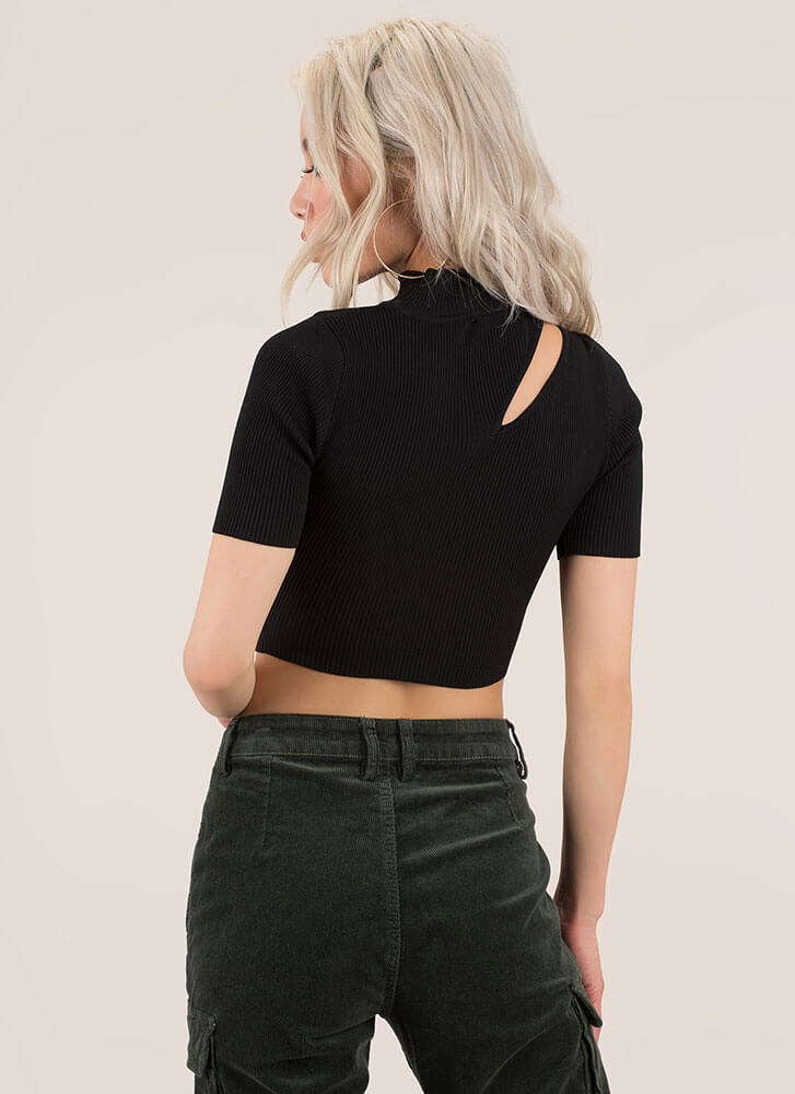 Just A Sliver Ribbed Cut-Out Crop Top BLACK