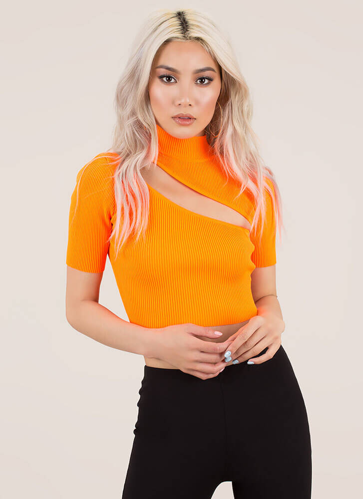 e08b90271611c Just A Sliver Ribbed Cut-Out Crop Top NEONORANGE (You Saved  20) ...