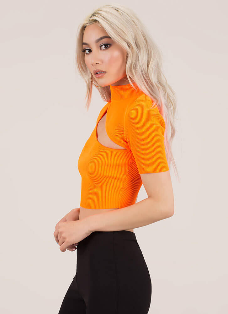 Just A Sliver Ribbed Cut-Out Crop Top NEONORANGE