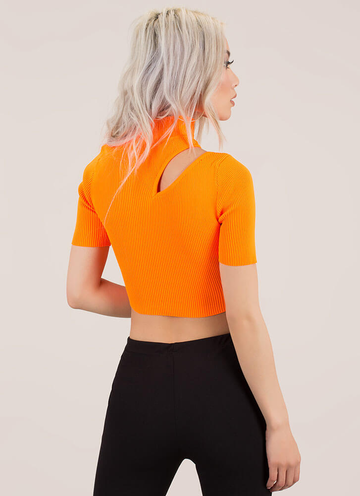 396f6e13327aa ... Just A Sliver Ribbed Cut-Out Crop Top NEONORANGE (You Saved  20) ...