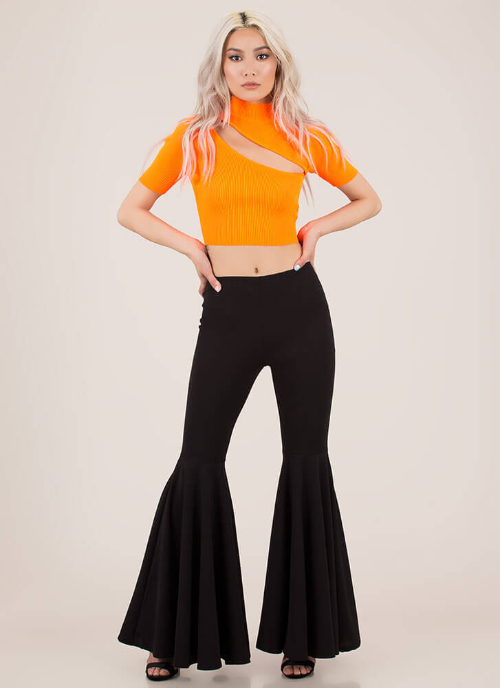 ed4f085050470 Just A Sliver Ribbed Cut-Out Crop Top BLACK NEONORANGE NEONYELLOW ...