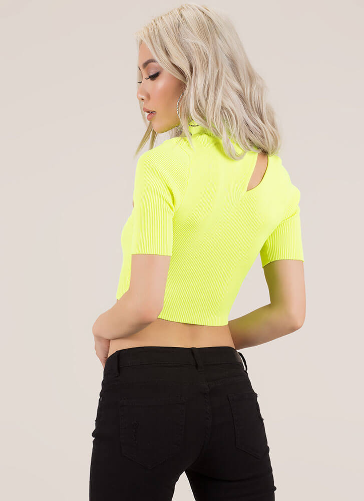 0daae62047b15 ... Just A Sliver Ribbed Cut-Out Crop Top NEONYELLOW (You Saved  20) ...