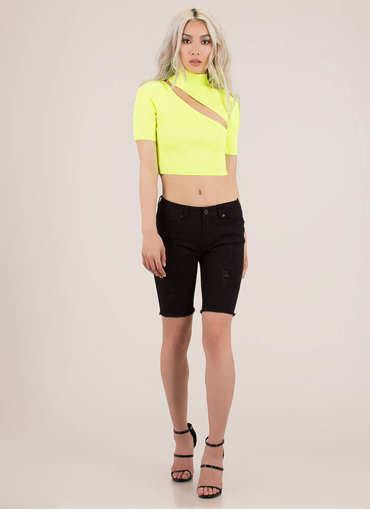 Just A Sliver Ribbed Cut-Out Crop Top NEONYELLOW