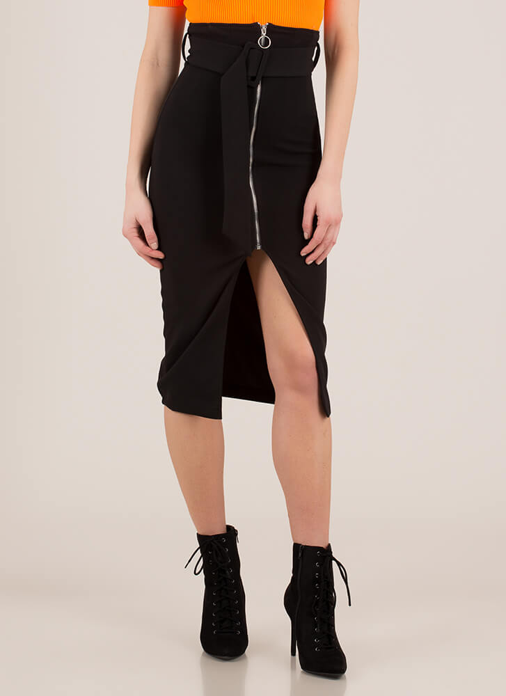 Belt It Out High-Waisted Zip-Front Skirt BLACK