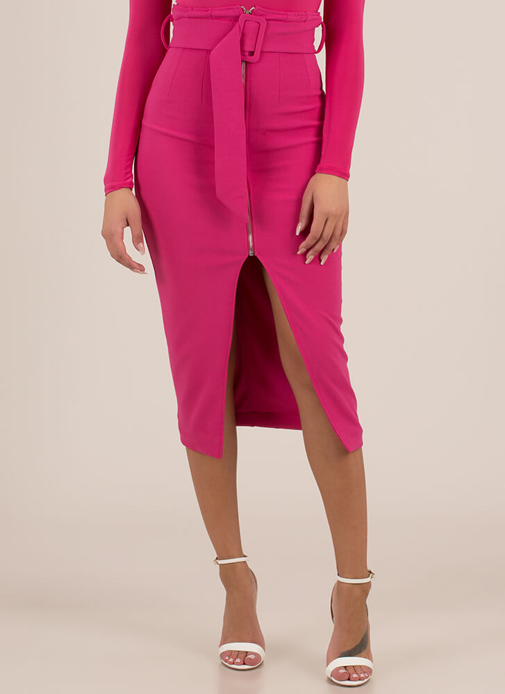 Belt It Out High-Waisted Zip-Front Skirt FUCHSIA (You Saved $25)