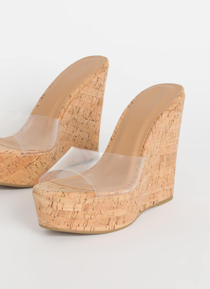 Pop The Cork Clear Mule Wedges NATURAL