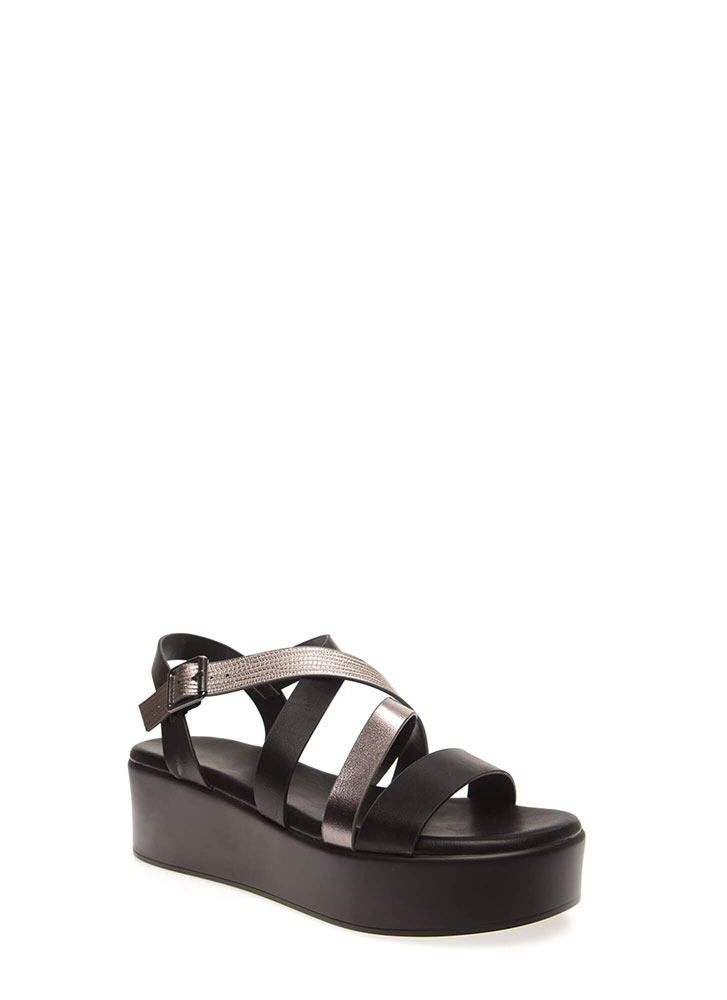A Little Snake Strappy Wedge Sandals BLACK