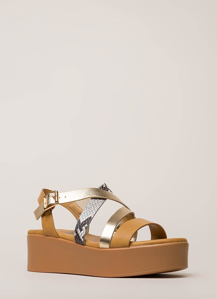 A Little Snake Strappy Wedge Sandals NATURAL