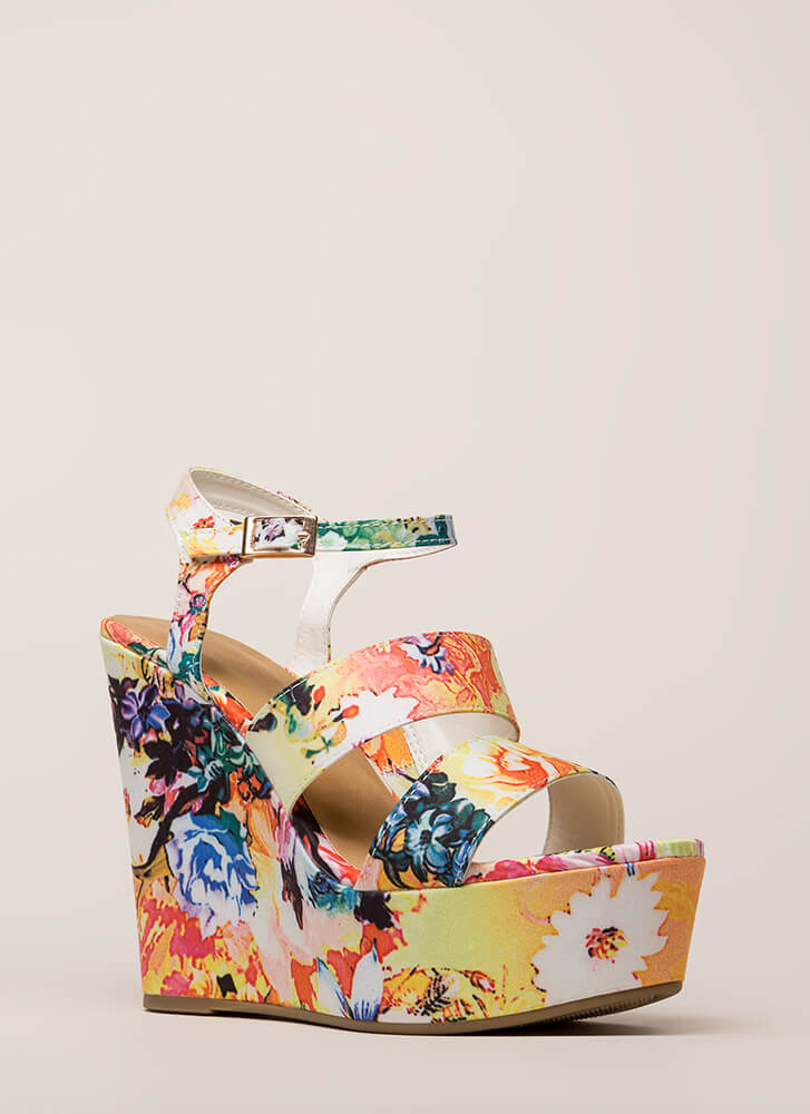 Embrace Florals Strappy Platform Wedges WHITE