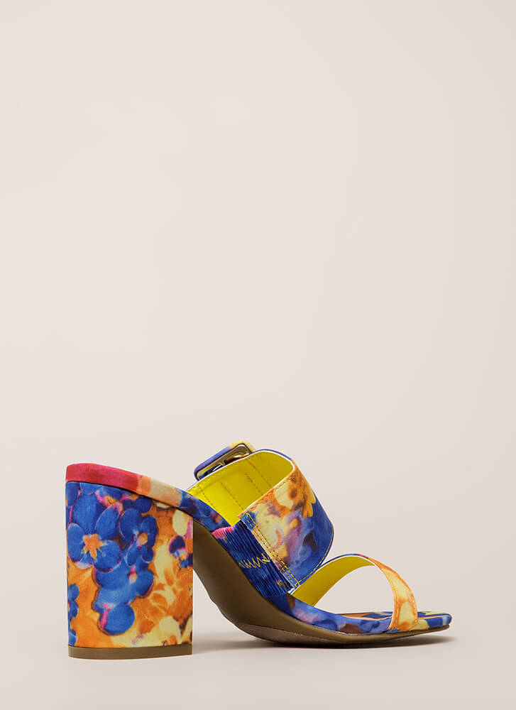I Like Big Buckles Floral Block Heels PINK (Final Sale)