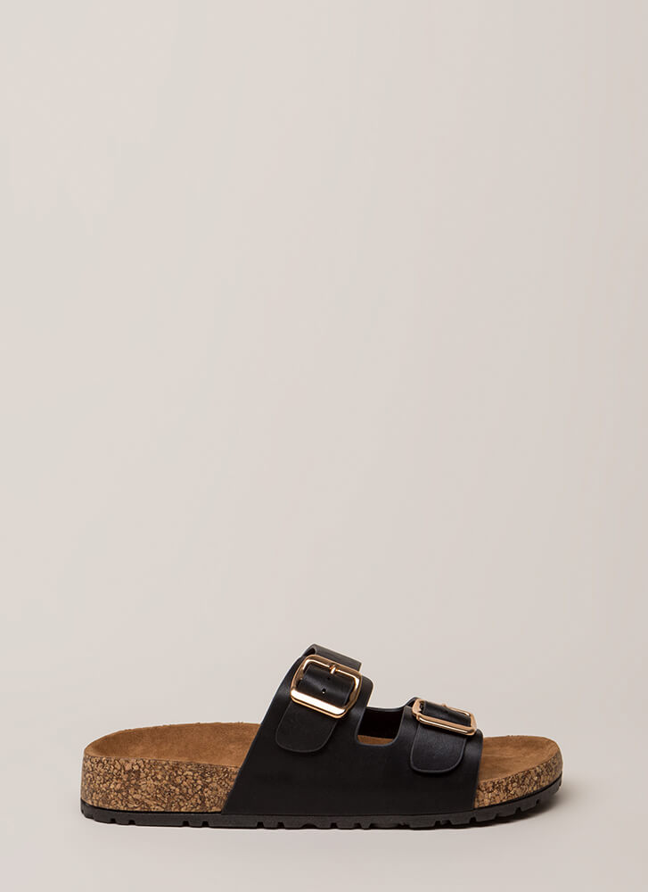 Easy Way Out Faux Leather Slide Sandals BLACK