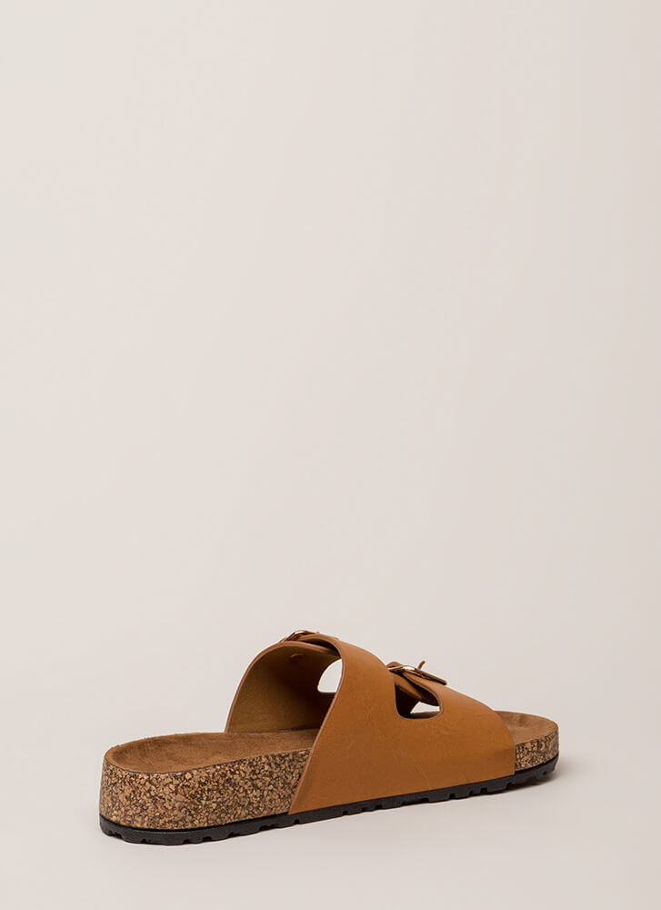 Easy Way Out Faux Leather Slide Sandals TAN