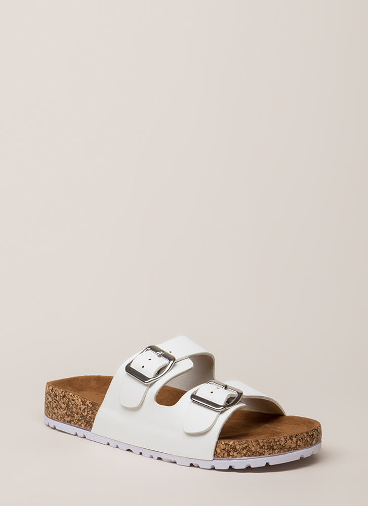 Easy Way Out Faux Leather Slide Sandals WHITE