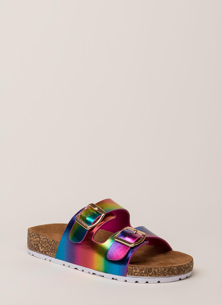 Easy Way Out Rainbow Slide Sandals RAINBOW