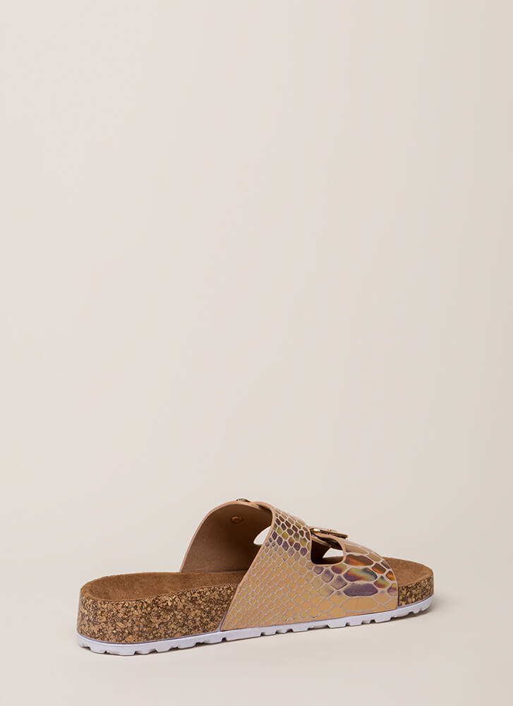 Easy Way Out Scale Print Slide Sandals ROSEGOLD (Final Sale)