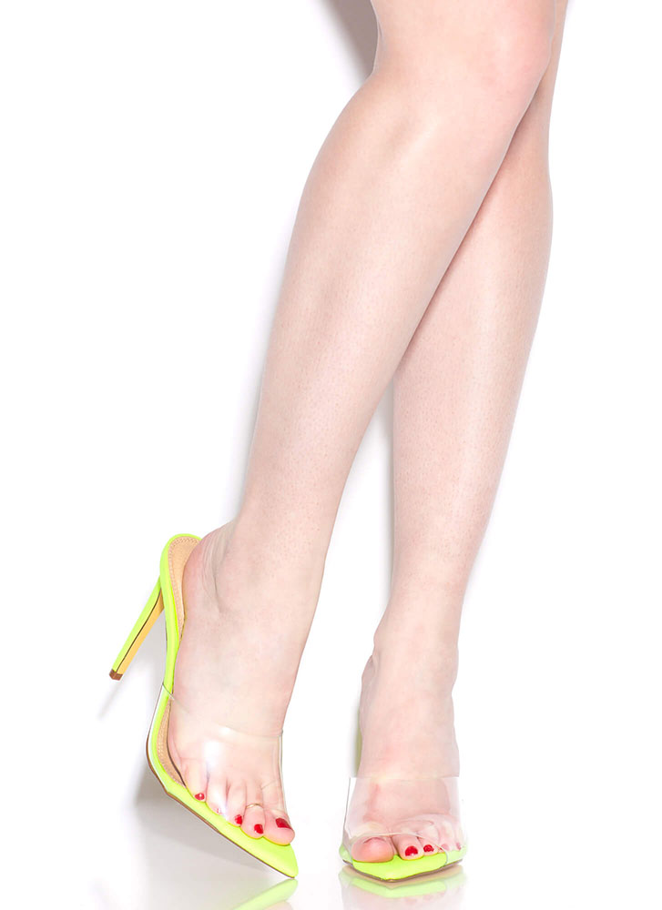 Clearly An Illusion Peep-Toe Mule Heels NEONYELLOW (You Saved $20)