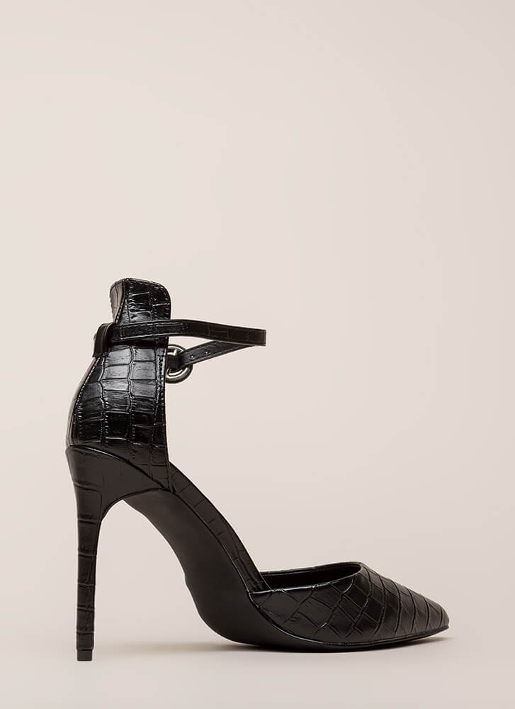 Animal Lover Pointy Faux Reptile Heels BLACK