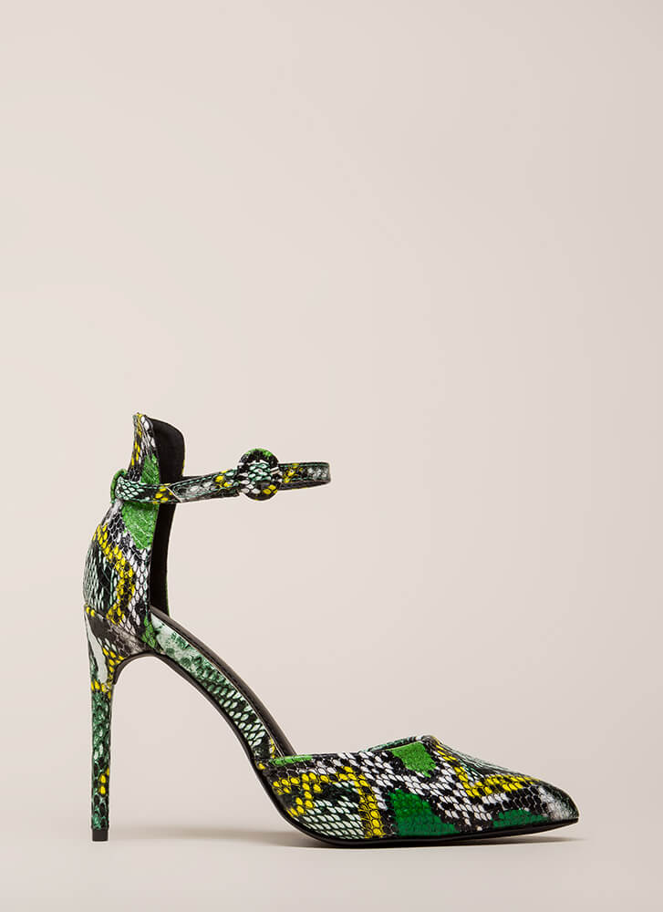 Animal Lover Pointy Faux Reptile Heels SNAKE