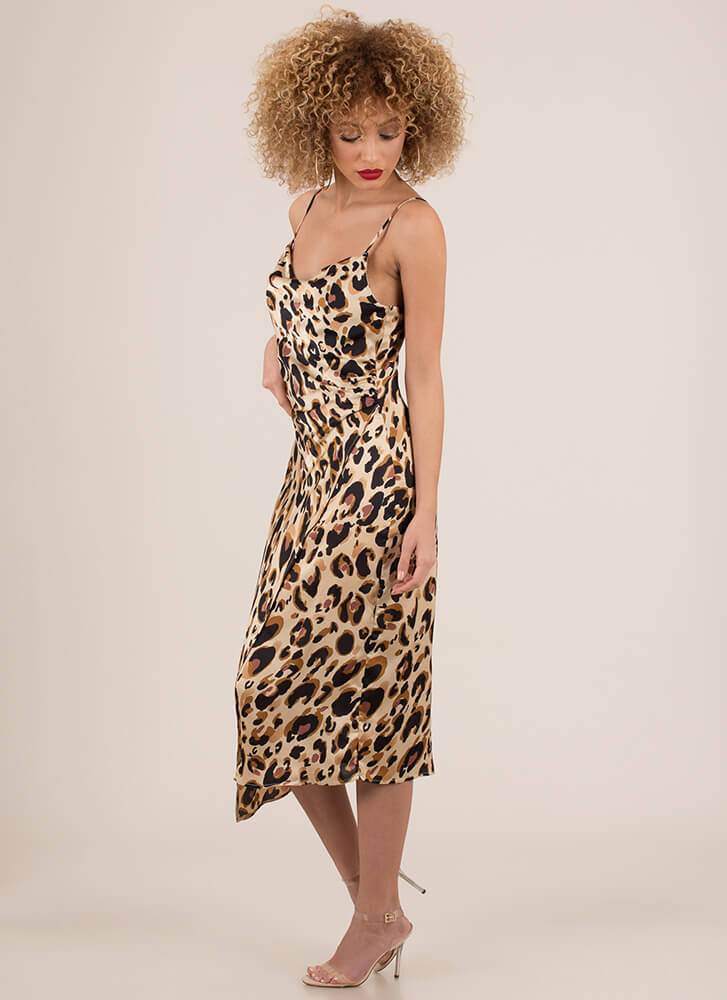 Wild About You Leopard Slip Dress BROWN