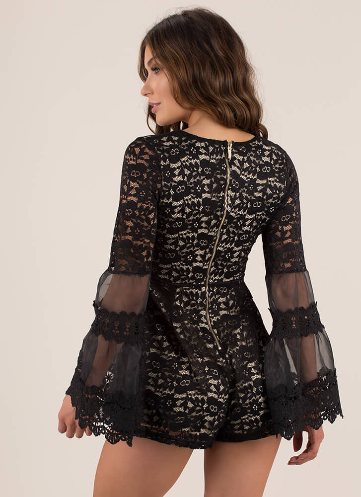 In Love With Lace Bell-Sleeve Romper BLACK