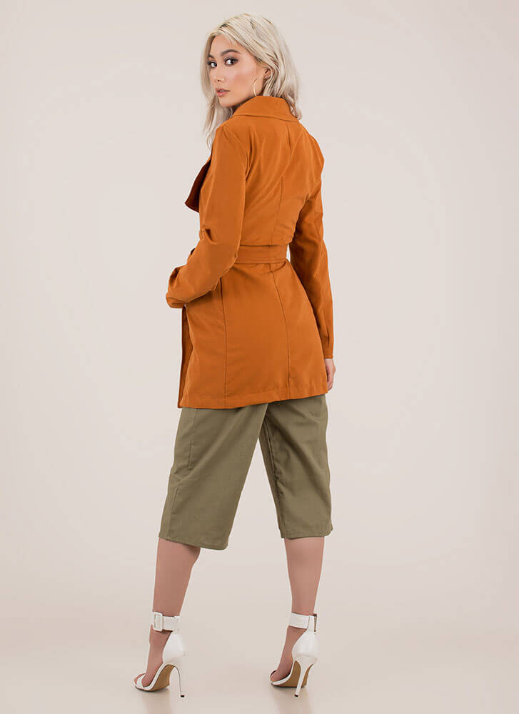 Weather Or Not Tied Trench Coat CAMEL