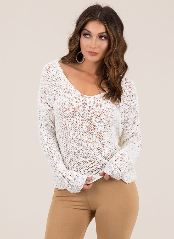Back With A Twist Cut-Out Knit Sweater IVORY