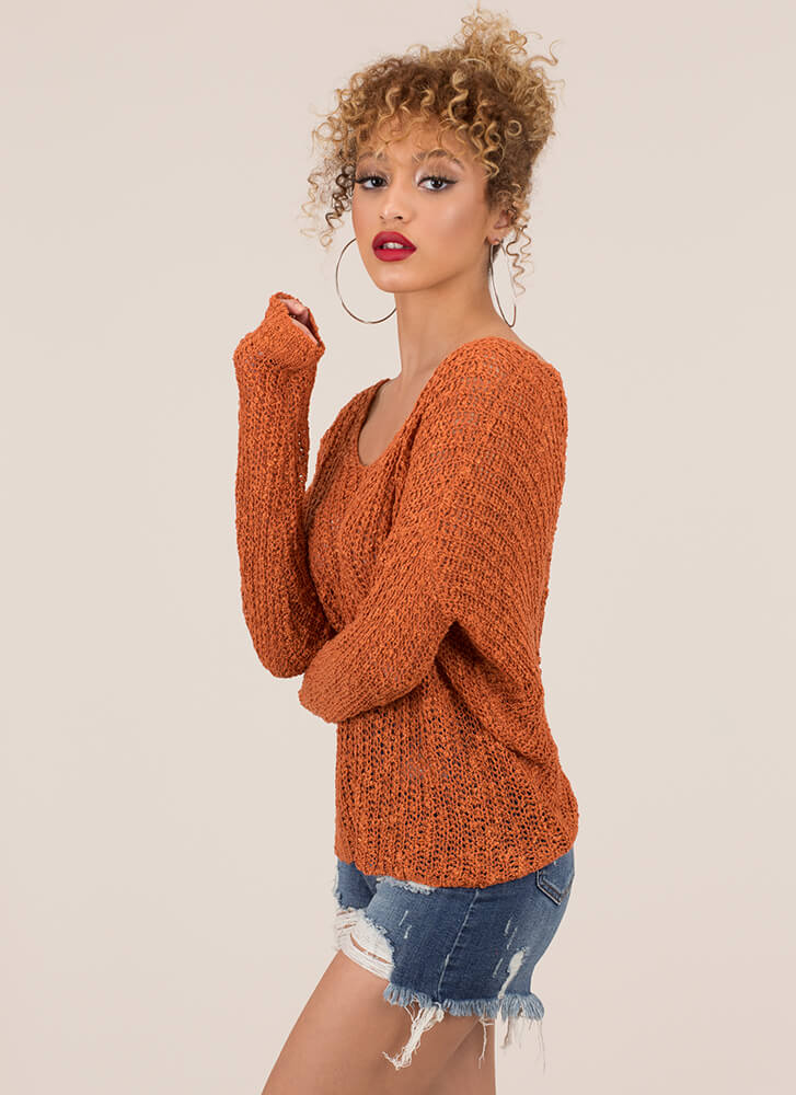 Back With A Twist Cut-Out Knit Sweater RUST