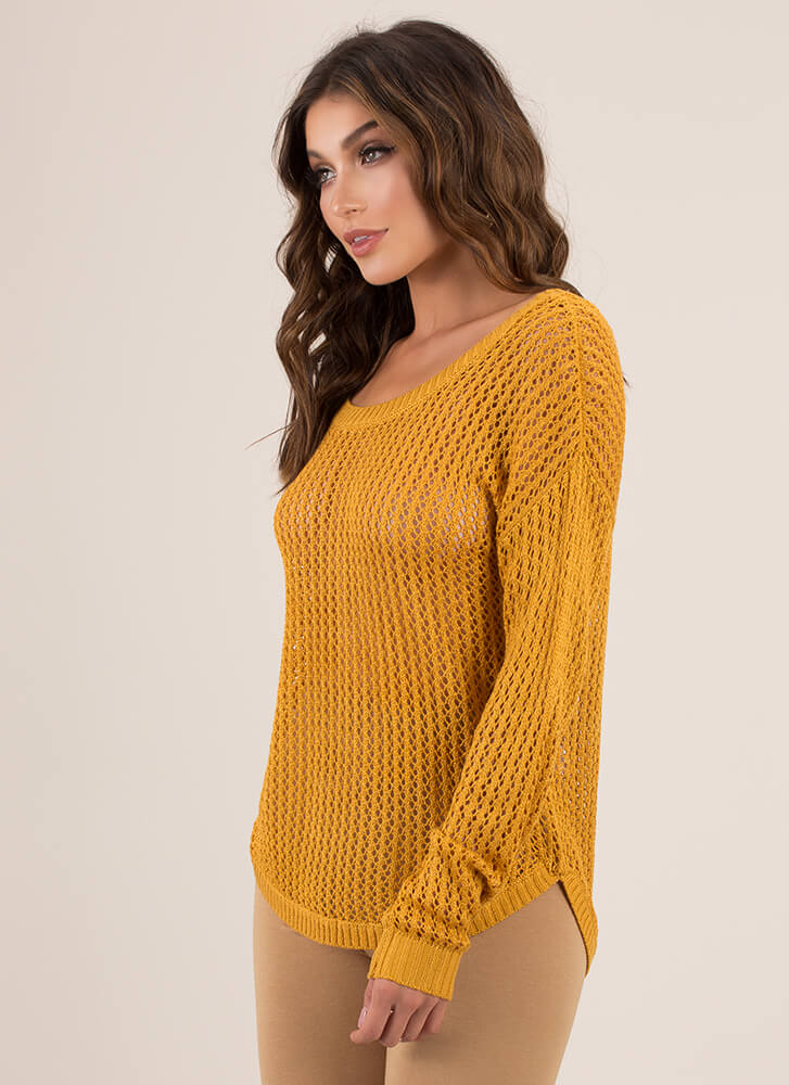 Something Sexy Strappy Back Knit Sweater MUSTARD