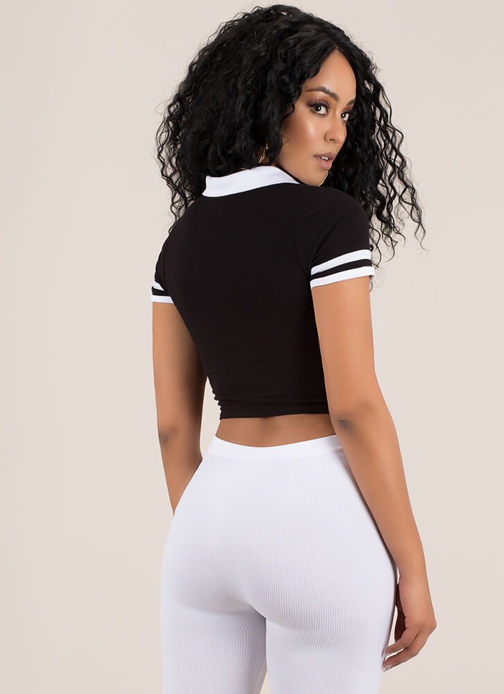 Get Sporty Striped Collared Crop Top BLACK