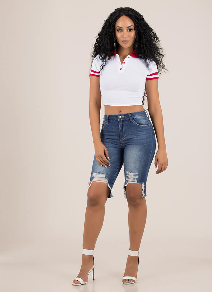 Get Sporty Striped Collared Crop Top WHITE
