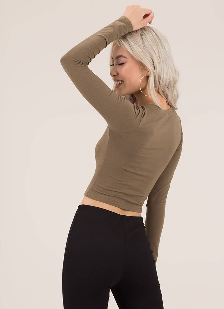 Basically Perfect Long-Sleeved Crop Top OLIVE