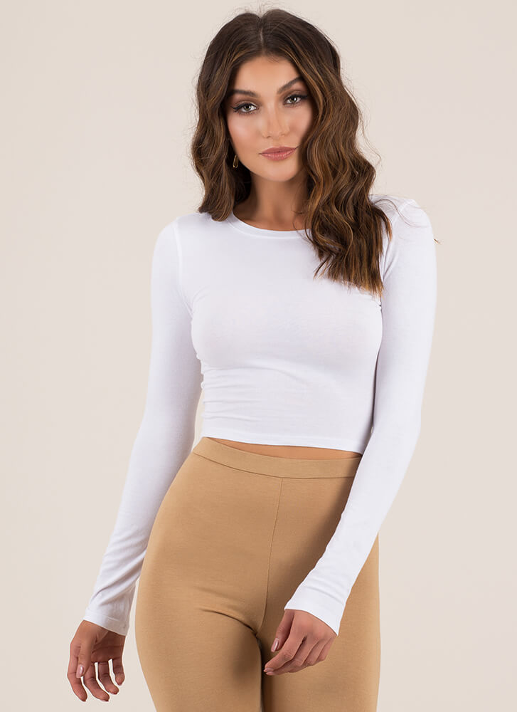 Basically Perfect Long-Sleeved Crop Top WHITE