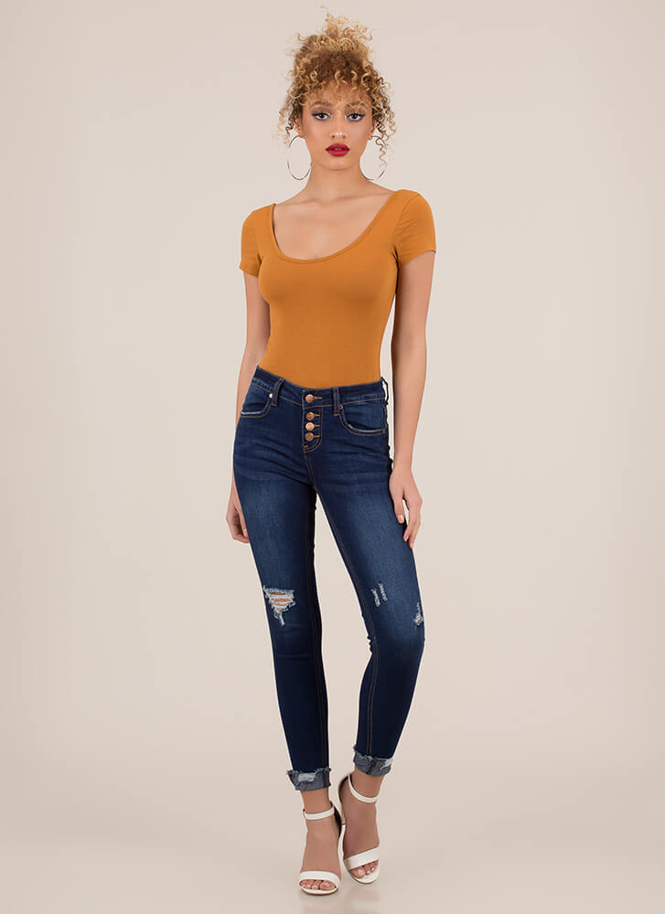 Cuff Love Distressed Button-Fly Jeans DKBLUE