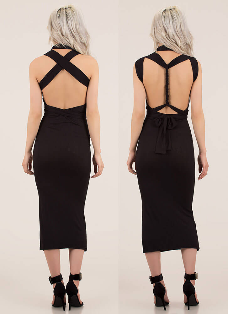 How You Like It Ribbed Multi-Way Dress BLACK