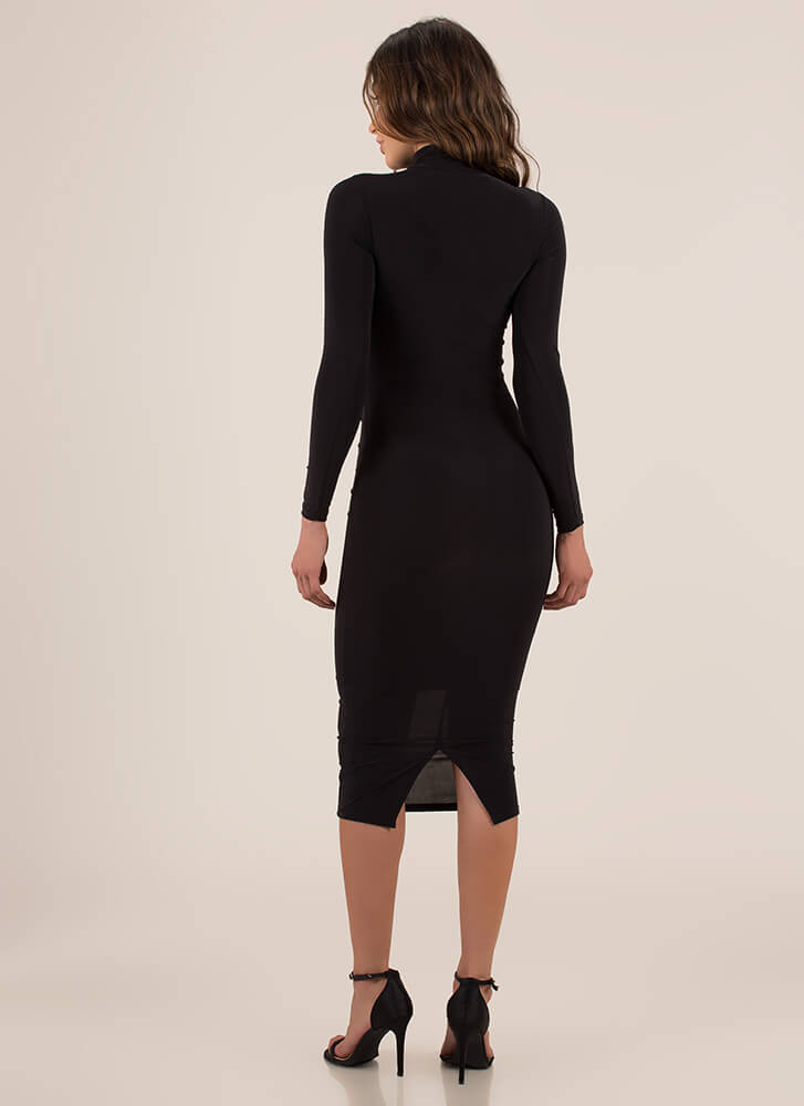 Curves For Days Turtleneck Midi Dress BLACK
