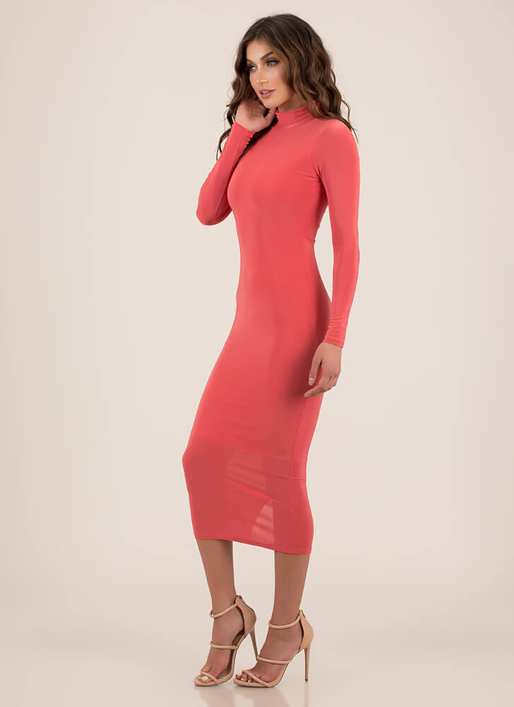 Curves For Days Turtleneck Midi Dress DKCORAL