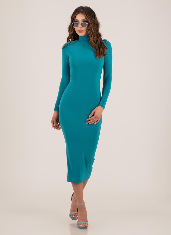 Curves For Days Turtleneck Midi Dress JADE
