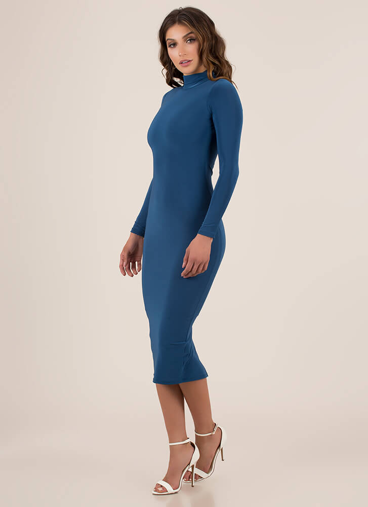 Curves For Days Turtleneck Midi Dress TEAL