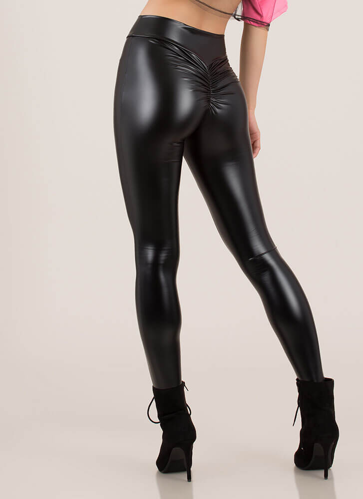 Back Side Ruched Faux Leather Leggings BLACK