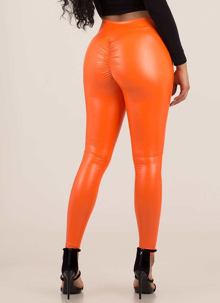 Back Side Ruched Faux Leather Leggings NEONORANGE
