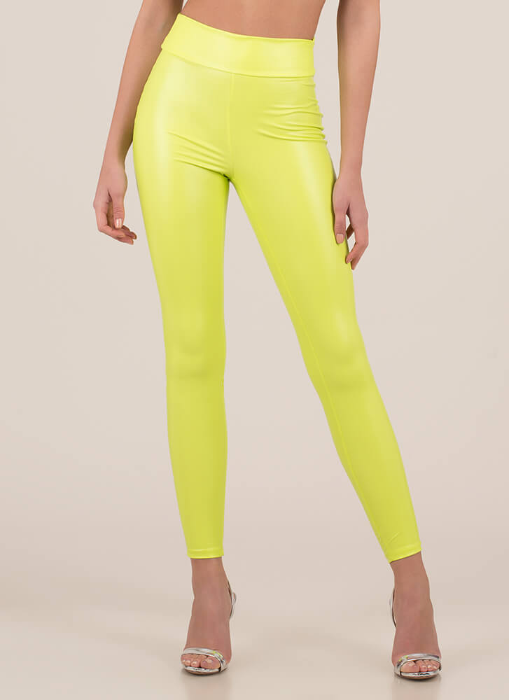 Back Side Ruched Faux Leather Leggings NEONYELLOW
