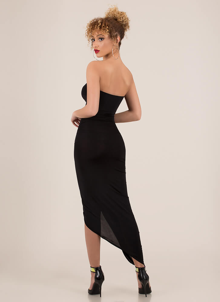 Sarong Sweetheart Draped Maxi Dress BLACK