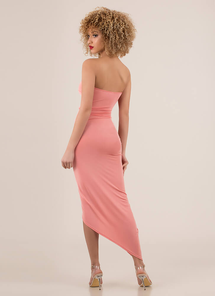 Sarong Sweetheart Draped Maxi Dress CORAL