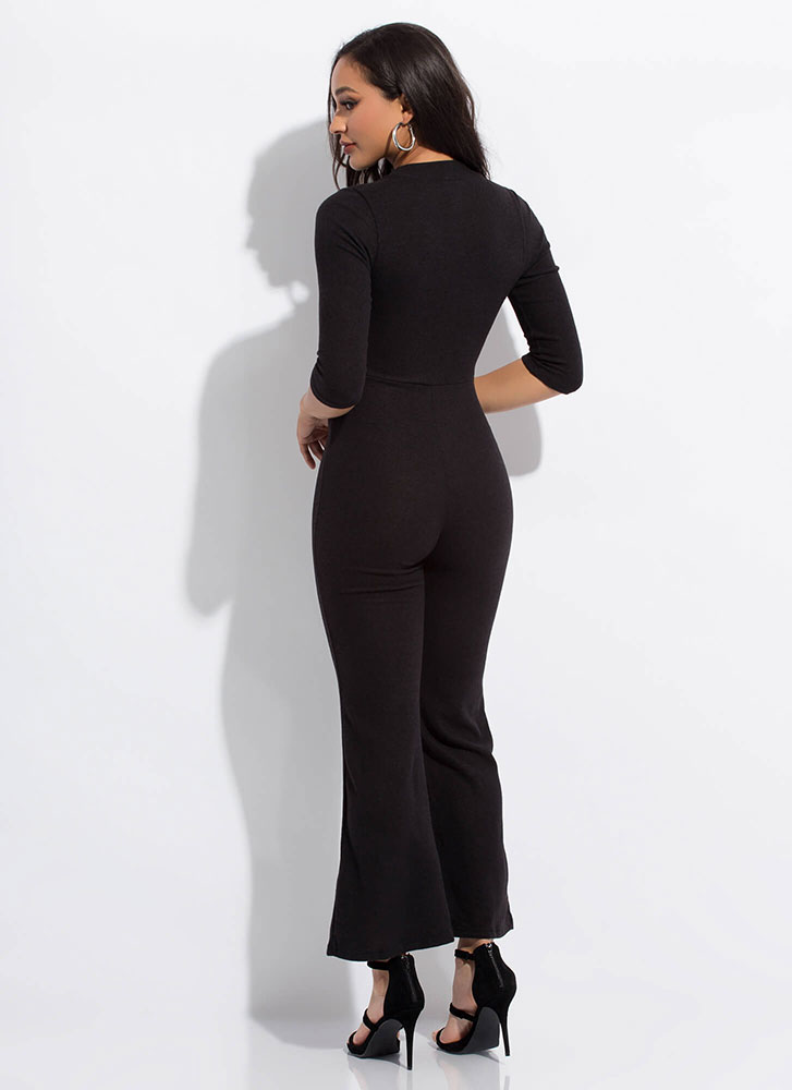 Easy Like Sunday Zip-Front Jumpsuit BLACK