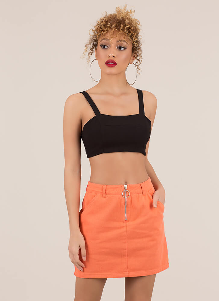 What's At Play Zip-Front Denim Skirt ORANGE