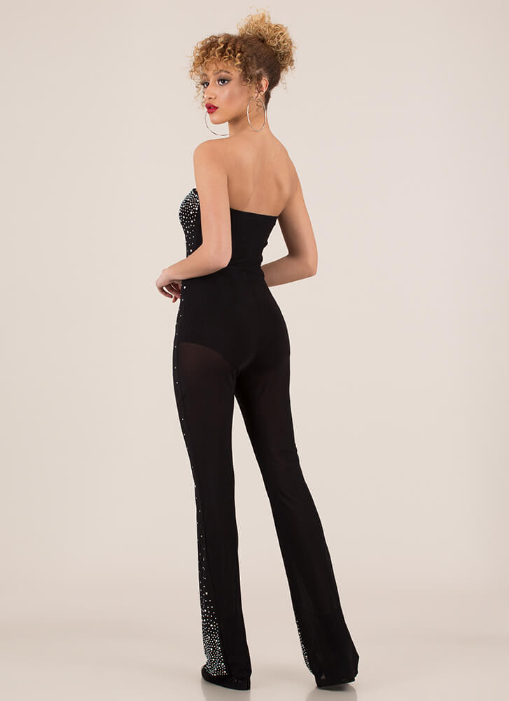 Night Sky Strapless Jewel Mesh Jumpsuit BLACK