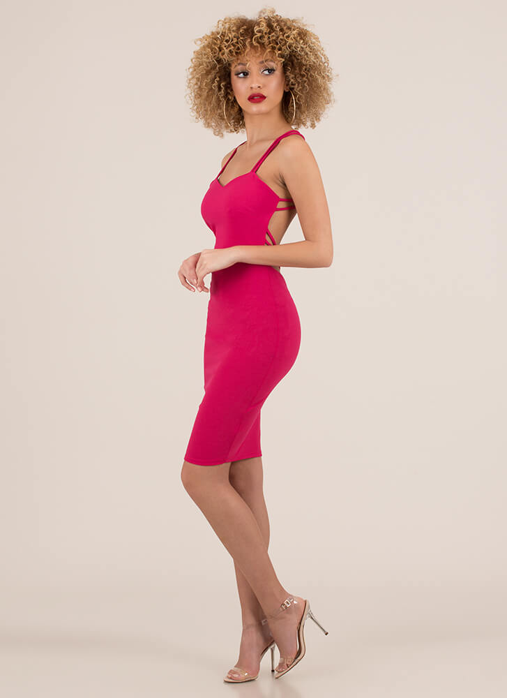 We're Bringing Strappy Back Caged Dress FUCHSIA